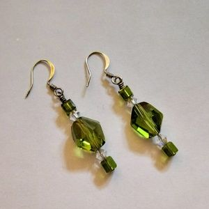 Green Crystal Bead Dangle Earrings